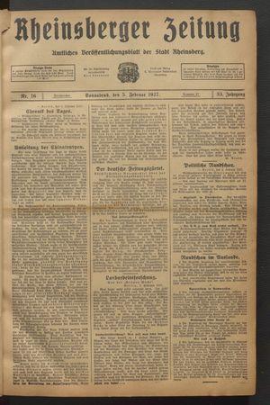 Rheinsberger Zeitung vom 05.02.1927