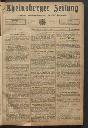 Rheinsberger Zeitung vom 08.02.1927