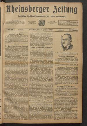 Rheinsberger Zeitung vom 12.02.1927