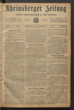 Rheinsberger Zeitung vom 17.02.1927
