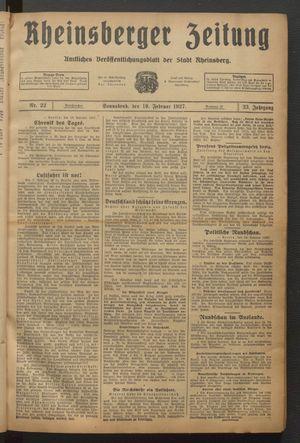 Rheinsberger Zeitung vom 19.02.1927