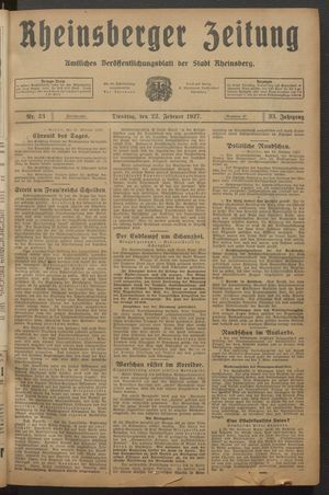 Rheinsberger Zeitung vom 22.02.1927