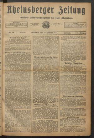 Rheinsberger Zeitung vom 24.02.1927