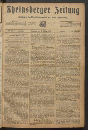 Rheinsberger Zeitung vom 01.03.1927