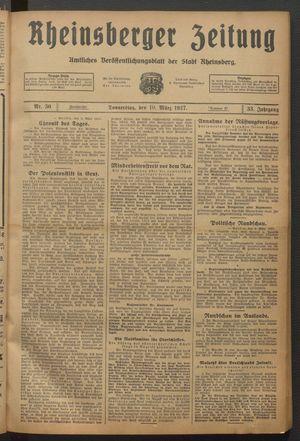 Rheinsberger Zeitung vom 10.03.1927