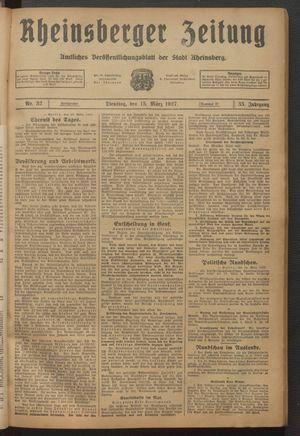 Rheinsberger Zeitung vom 15.03.1927