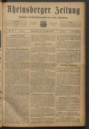 Rheinsberger Zeitung vom 19.03.1927
