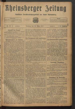 Rheinsberger Zeitung vom 22.03.1927