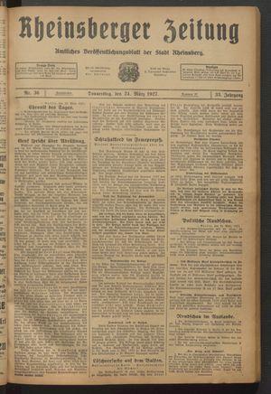 Rheinsberger Zeitung vom 24.03.1927