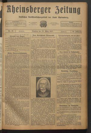 Rheinsberger Zeitung vom 29.03.1927