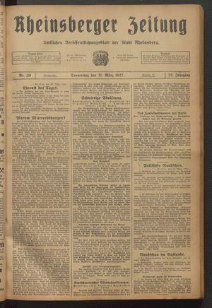 Rheinsberger Zeitung vom 31.03.1927
