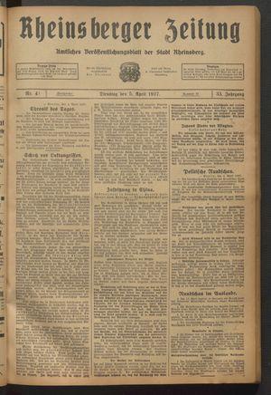 Rheinsberger Zeitung vom 05.04.1927
