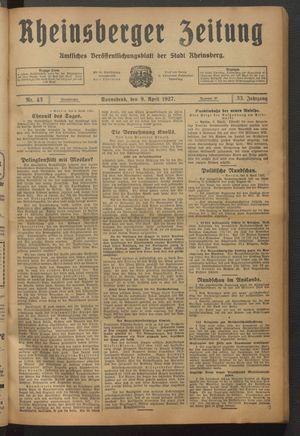Rheinsberger Zeitung vom 09.04.1927