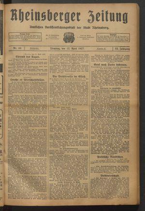 Rheinsberger Zeitung vom 12.04.1927