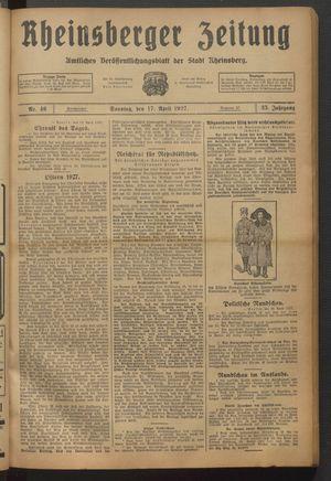 Rheinsberger Zeitung vom 17.04.1927