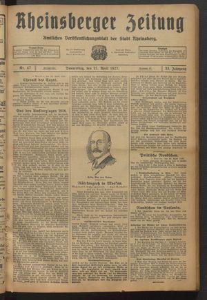 Rheinsberger Zeitung vom 21.04.1927