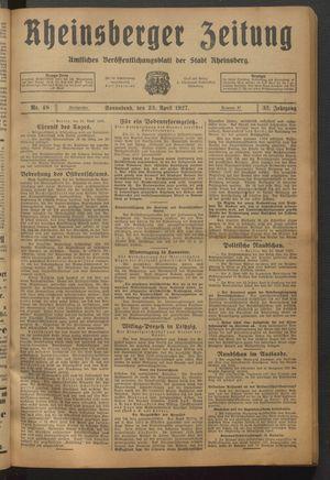 Rheinsberger Zeitung vom 23.04.1927