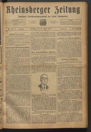 Rheinsberger Zeitung vom 26.04.1927