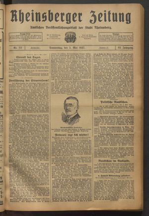 Rheinsberger Zeitung on May 5, 1927