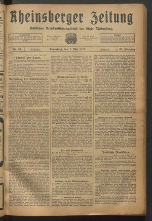 Rheinsberger Zeitung vom 07.05.1927