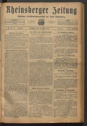 Rheinsberger Zeitung vom 10.05.1927