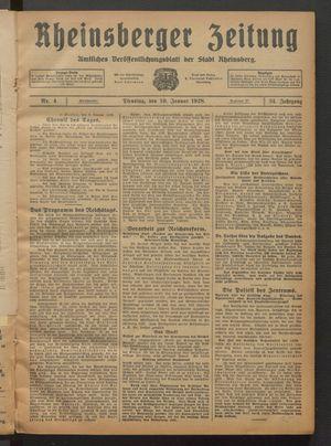 Rheinsberger Zeitung vom 10.01.1928