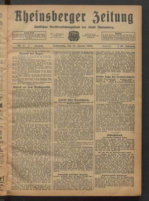 Rheinsberger Zeitung on Jan 12, 1928