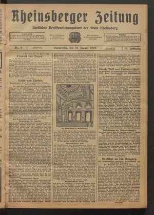 Rheinsberger Zeitung vom 19.01.1928