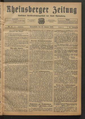 Rheinsberger Zeitung vom 21.01.1928