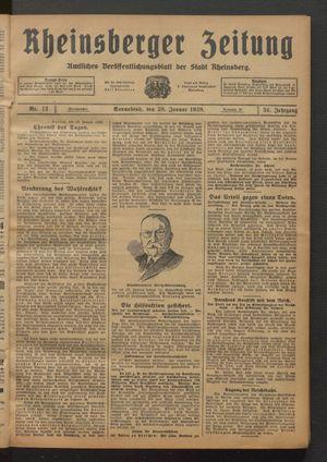 Rheinsberger Zeitung vom 28.01.1928