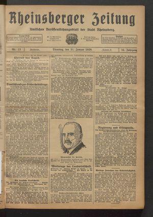 Rheinsberger Zeitung vom 31.01.1928