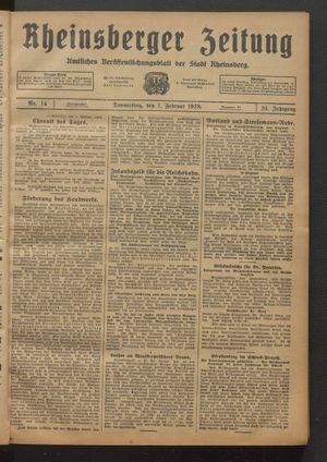 Rheinsberger Zeitung vom 02.02.1928