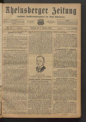 Rheinsberger Zeitung vom 07.02.1928