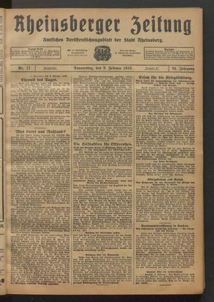 Rheinsberger Zeitung vom 09.02.1928