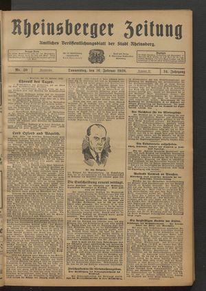 Rheinsberger Zeitung vom 16.02.1928