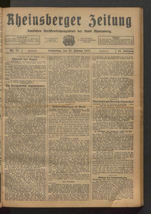 Rheinsberger Zeitung vom 23.02.1928