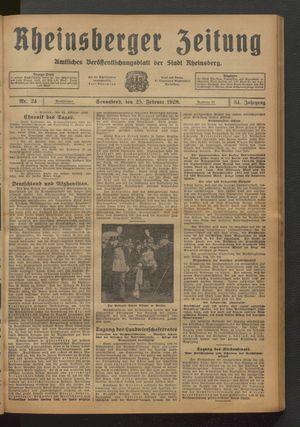Rheinsberger Zeitung on Feb 25, 1928