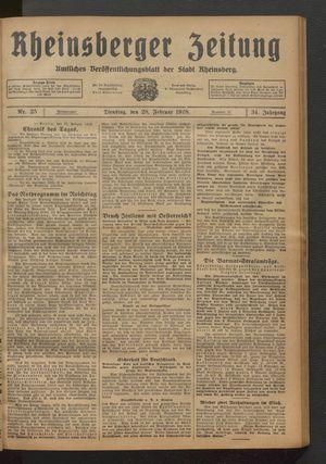 Rheinsberger Zeitung vom 28.02.1928