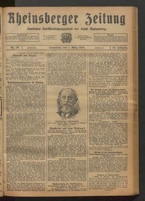 Rheinsberger Zeitung on Mar 1, 1928