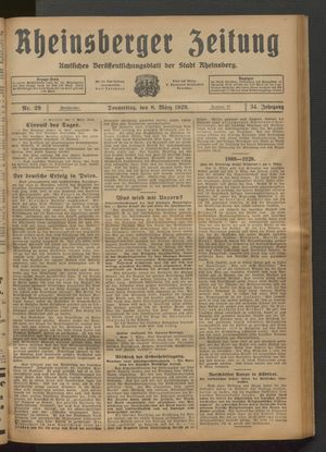 Rheinsberger Zeitung on Mar 8, 1928