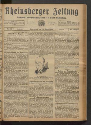 Rheinsberger Zeitung vom 15.03.1928
