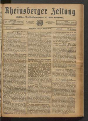 Rheinsberger Zeitung vom 17.03.1928