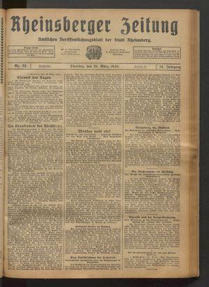 Rheinsberger Zeitung vom 20.03.1928