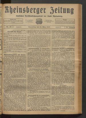 Rheinsberger Zeitung vom 22.03.1928
