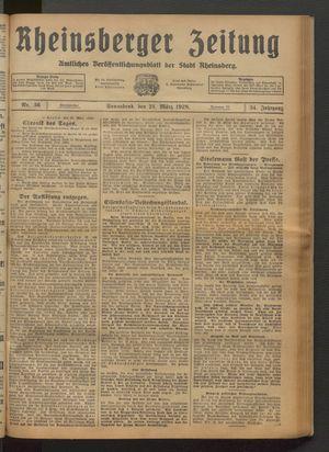 Rheinsberger Zeitung vom 24.03.1928
