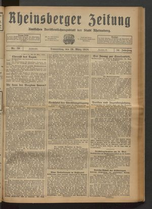 Rheinsberger Zeitung vom 29.03.1928
