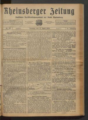 Rheinsberger Zeitung vom 17.04.1928
