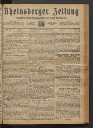 Rheinsberger Zeitung vom 19.04.1928