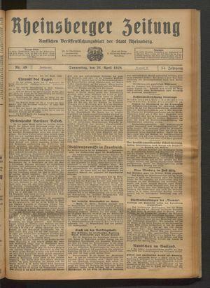 Rheinsberger Zeitung vom 26.04.1928
