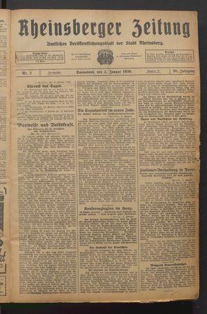 Rheinsberger Zeitung vom 04.01.1930